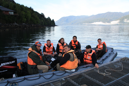 plant collecting team on a boat