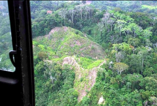 Aerial photograph of deforestation in Colombia.