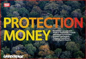 Font cover of Greenpeace report Protection Money